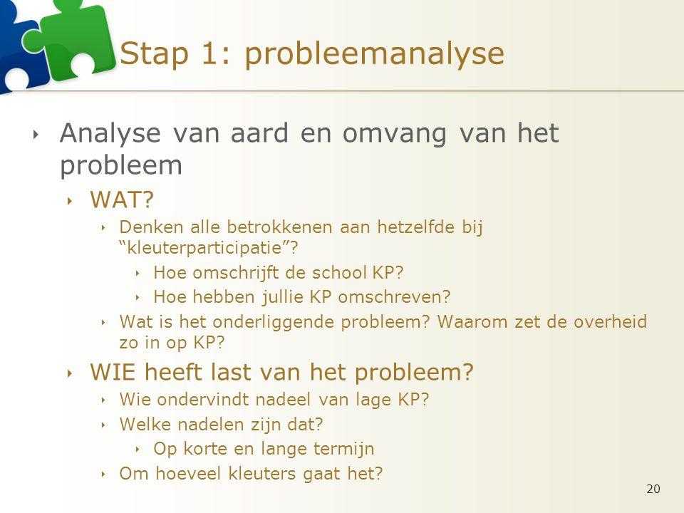 Stap 1: probleemanalyse  Analyse van aard en omvang van het probleem  WAT.