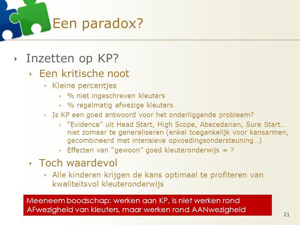 Een paradox. Inzetten op KP.