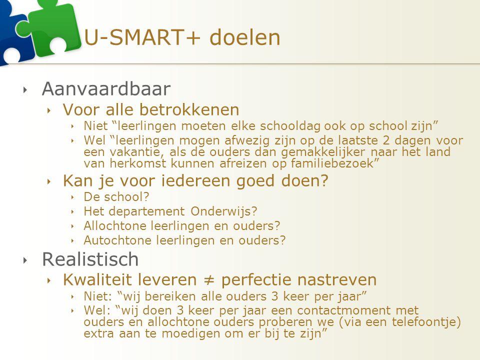 """U-SMART+ doelen  Aanvaardbaar  Voor alle betrokkenen  Niet """"leerlingen moeten elke schooldag ook op school zijn""""  Wel """"leerlingen mogen afwezig zi"""