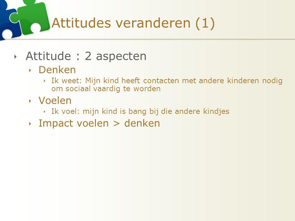 Attitudes veranderen (1)  Attitude : 2 aspecten  Denken  Ik weet: Mijn kind heeft contacten met andere kinderen nodig om sociaal vaardig te worden  Voelen  Ik voel: mijn kind is bang bij die andere kindjes  Impact voelen > denken