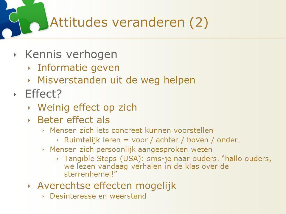Attitudes veranderen (2)  Kennis verhogen  Informatie geven  Misverstanden uit de weg helpen  Effect?  Weinig effect op zich  Beter effect als 