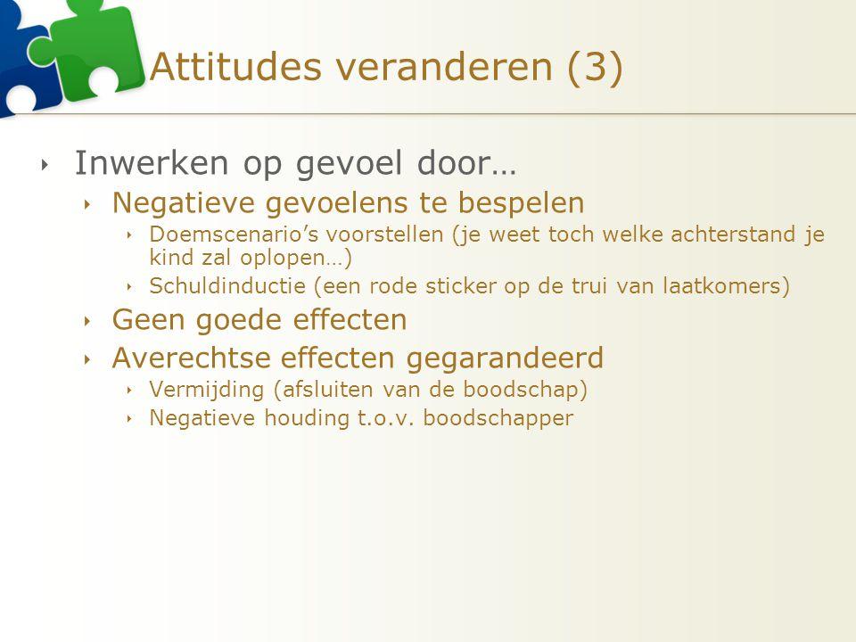 Attitudes veranderen (3)  Inwerken op gevoel door…  Negatieve gevoelens te bespelen  Doemscenario's voorstellen (je weet toch welke achterstand je