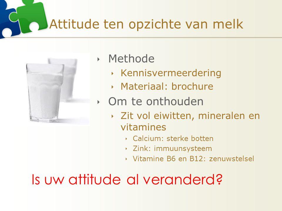 Attitude ten opzichte van melk  Methode  Kennisvermeerdering  Materiaal: brochure  Om te onthouden  Zit vol eiwitten, mineralen en vitamines  Ca