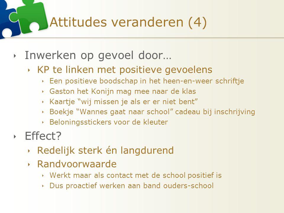 Attitudes veranderen (4)  Inwerken op gevoel door…  KP te linken met positieve gevoelens  Een positieve boodschap in het heen-en-weer schriftje  G