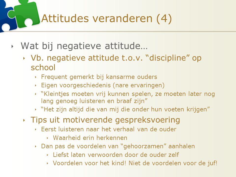 """Attitudes veranderen (4)  Wat bij negatieve attitude…  Vb. negatieve attitude t.o.v. """"discipline"""" op school  Frequent gemerkt bij kansarme ouders """