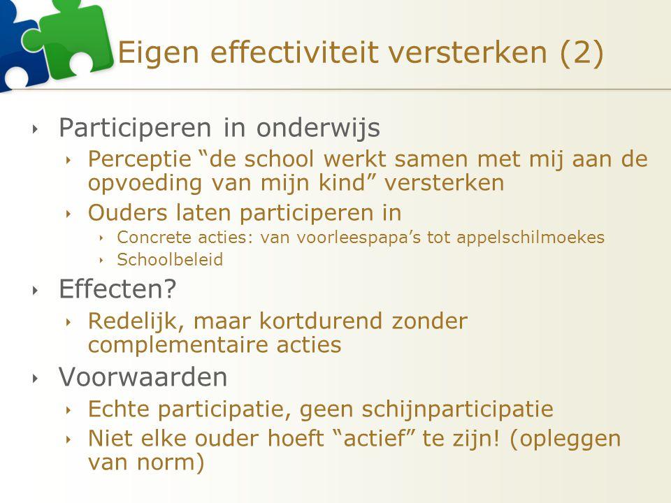 Eigen effectiviteit versterken (2)  Participeren in onderwijs  Perceptie de school werkt samen met mij aan de opvoeding van mijn kind versterken  Ouders laten participeren in  Concrete acties: van voorleespapa's tot appelschilmoekes  Schoolbeleid  Effecten.