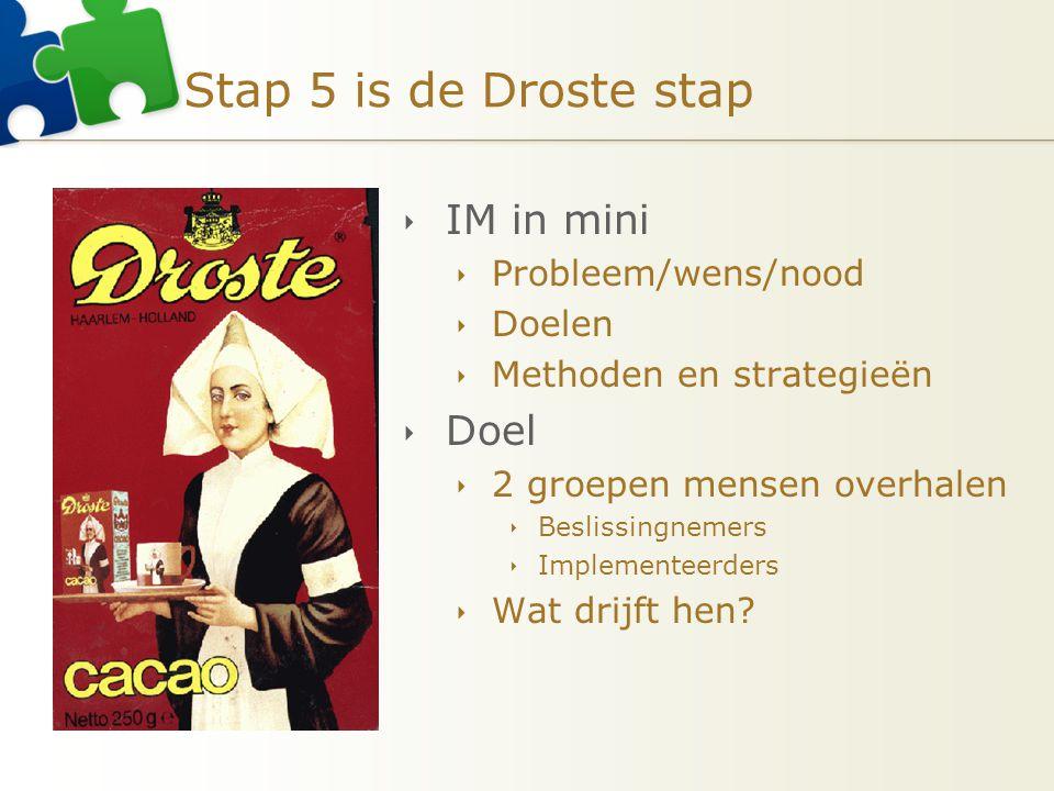 Stap 5 is de Droste stap  IM in mini  Probleem/wens/nood  Doelen  Methoden en strategieën  Doel  2 groepen mensen overhalen  Beslissingnemers  Implementeerders  Wat drijft hen?
