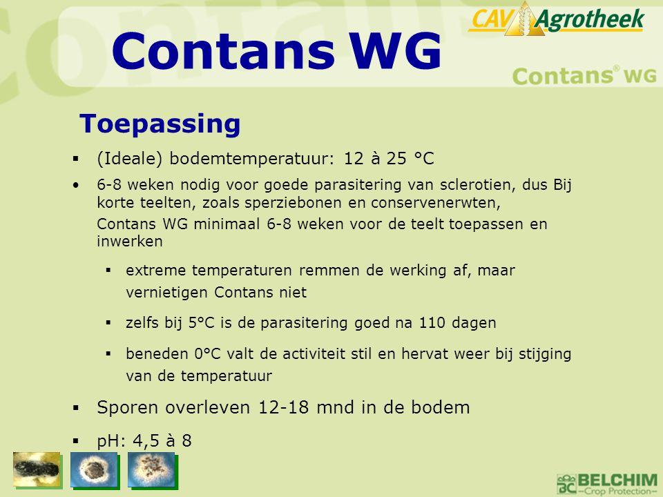  (Ideale) bodemtemperatuur: 12 à 25 °C •6-8 weken nodig voor goede parasitering van sclerotien, dus Bij korte teelten, zoals sperziebonen en conserve