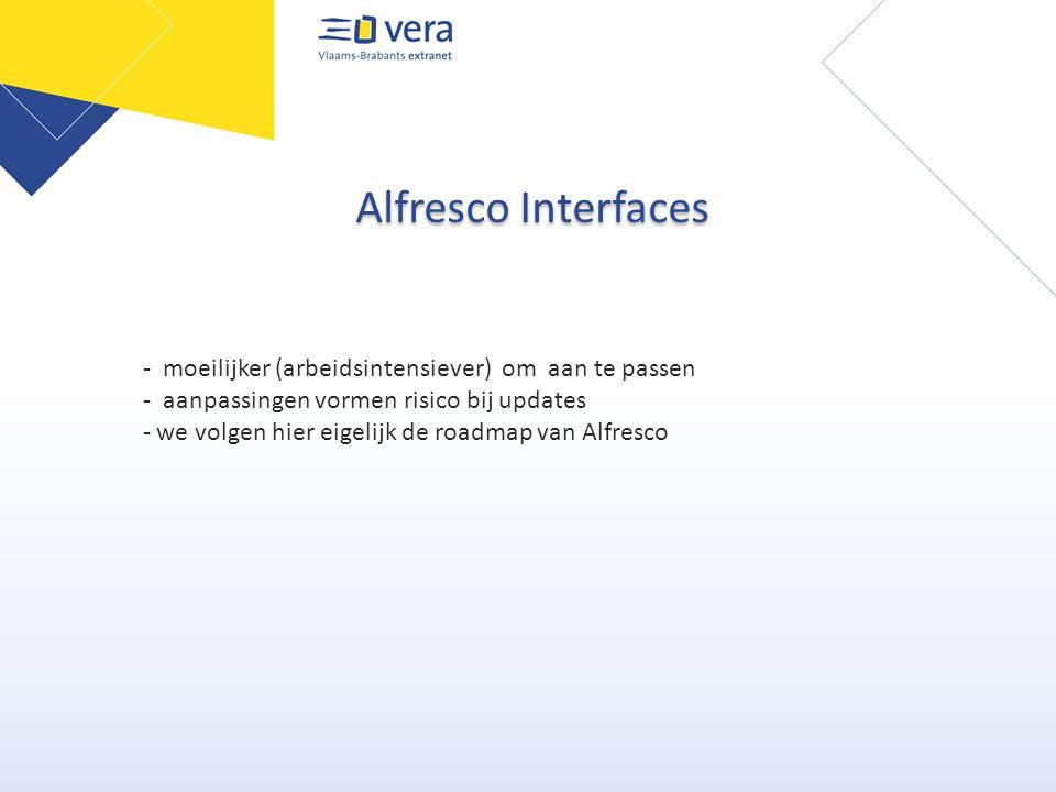 Alfresco Interfaces - moeilijker (arbeidsintensiever) om aan te passen - aanpassingen vormen risico bij updates - we volgen hier eigelijk de roadmap van Alfresco