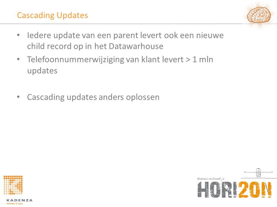 Cascading Updates • Iedere update van een parent levert ook een nieuwe child record op in het Datawarhouse • Telefoonnummerwijziging van klant levert