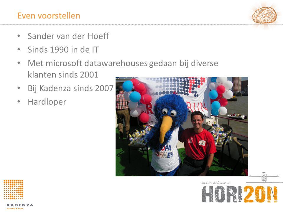 Even voorstellen • Sander van der Hoeff • Sinds 1990 in de IT • Met microsoft datawarehouses gedaan bij diverse klanten sinds 2001 • Bij Kadenza sinds