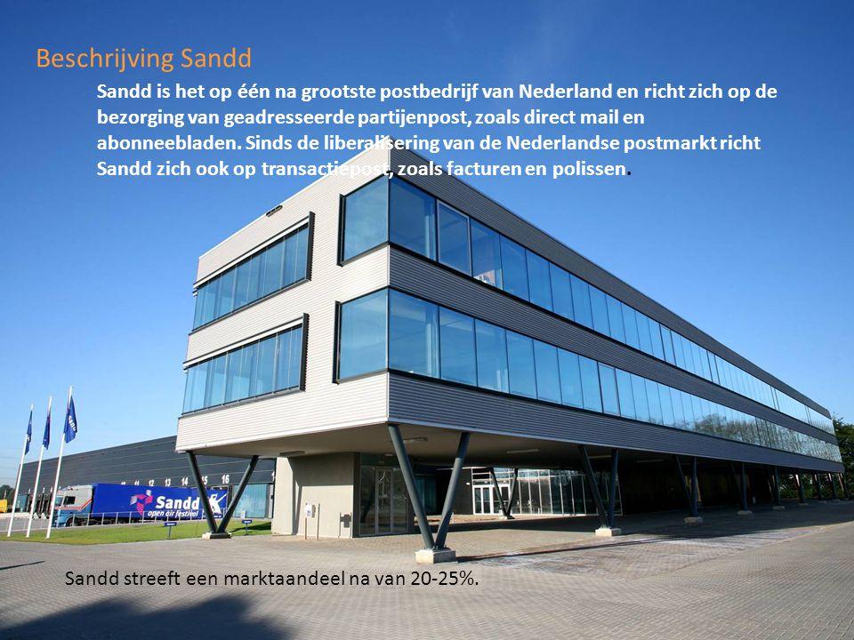 Beschrijving Sandd Sheet 4 Sandd is het op één na grootste postbedrijf van Nederland en richt zich op de bezorging van geadresseerde partijenpost, zoa