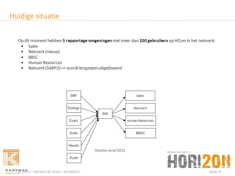 Huidige situatie © 2011 – Norbert de Vries – Sandd B.V.Sheet 6 Situatie vanaf 2011 Op dit moment hebben 5 rapportage omgevingen met meer dan 200 gebru