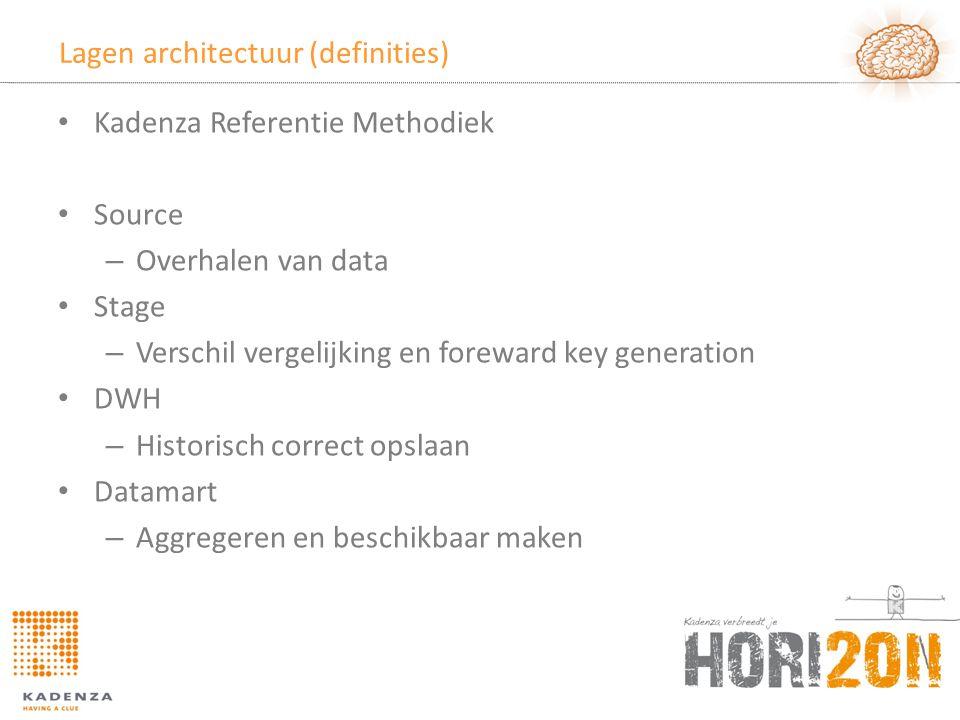 Lagen architectuur (definities) • Kadenza Referentie Methodiek • Source – Overhalen van data • Stage – Verschil vergelijking en foreward key generatio