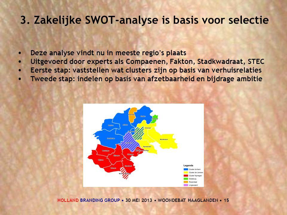 HOLLAND BRANDING GROUP • 30 MEI 2013 • WOONDEBAT HAAGLANDEN • 15 3. Zakelijke SWOT-analyse is basis voor selectie • Deze analyse vindt nu in meeste re