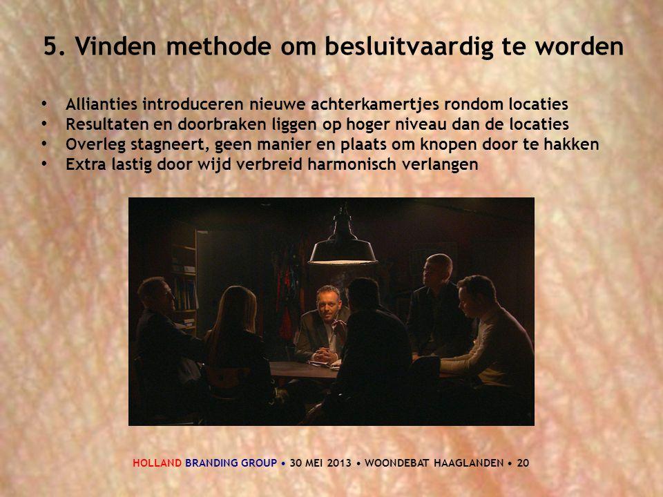 HOLLAND BRANDING GROUP • 30 MEI 2013 • WOONDEBAT HAAGLANDEN • 20 5. Vinden methode om besluitvaardig te worden • Allianties introduceren nieuwe achter