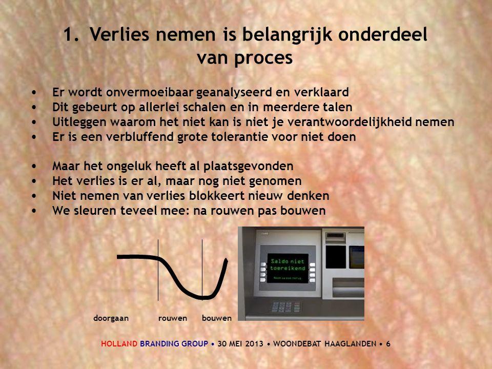 HOLLAND BRANDING GROUP • 30 MEI 2013 • WOONDEBAT HAAGLANDEN • 6 1.Verlies nemen is belangrijk onderdeel van proces • Er wordt onvermoeibaar geanalysee
