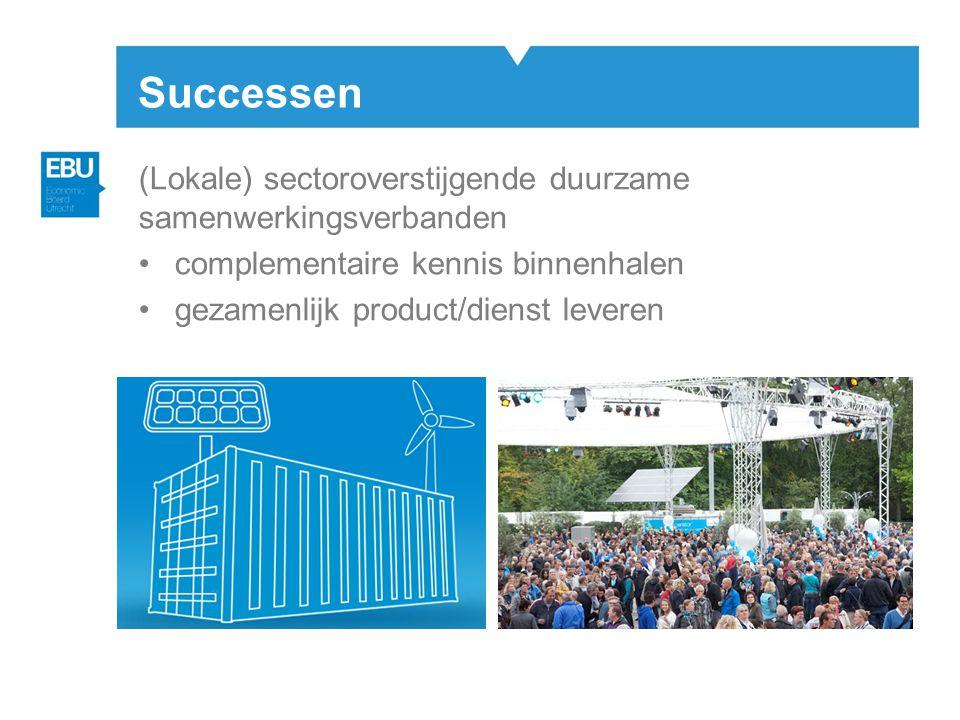 Successen (Lokale) sectoroverstijgende duurzame samenwerkingsverbanden •complementaire kennis binnenhalen •gezamenlijk product/dienst leveren