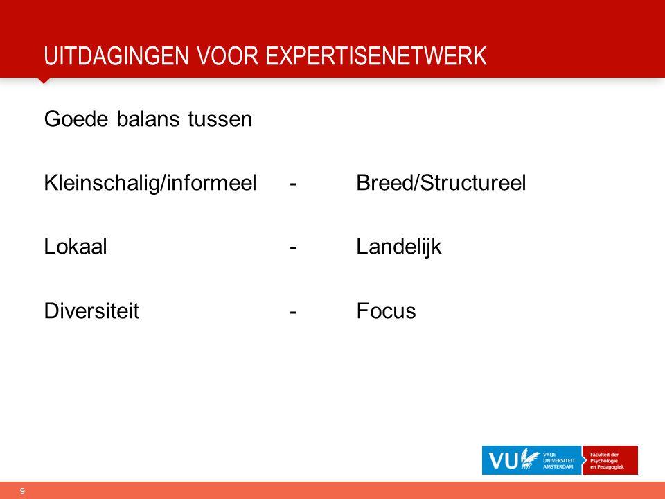9 UITDAGINGEN VOOR EXPERTISENETWERK Goede balans tussen Kleinschalig/informeel-Breed/Structureel Lokaal-Landelijk Diversiteit-Focus