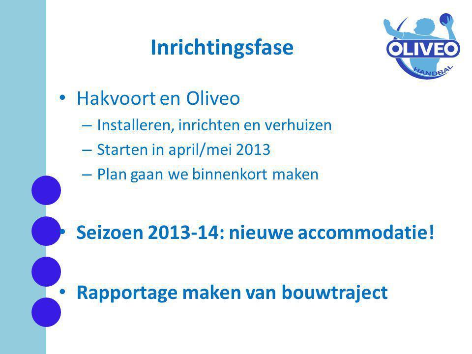 Inrichtingsfase • Hakvoort en Oliveo – Installeren, inrichten en verhuizen – Starten in april/mei 2013 – Plan gaan we binnenkort maken • Seizoen 2013-14: nieuwe accommodatie.