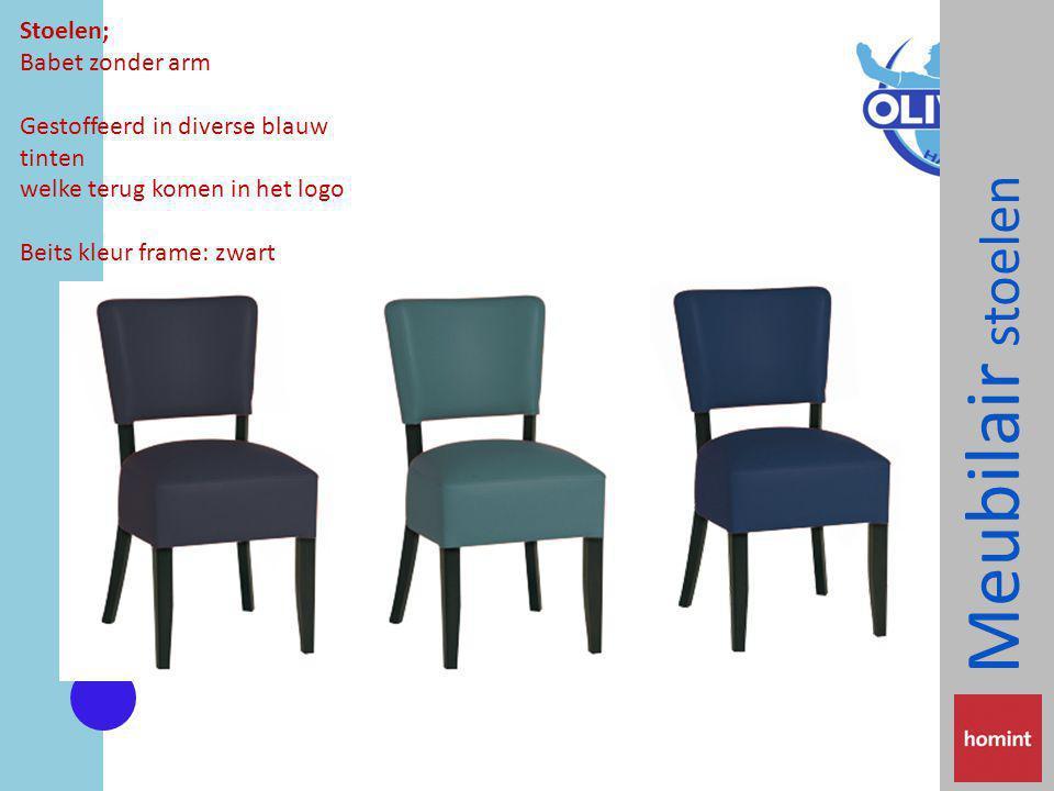 Meubilair stoelen Stoelen; Babet zonder arm Gestoffeerd in diverse blauw tinten welke terug komen in het logo Beits kleur frame: zwart