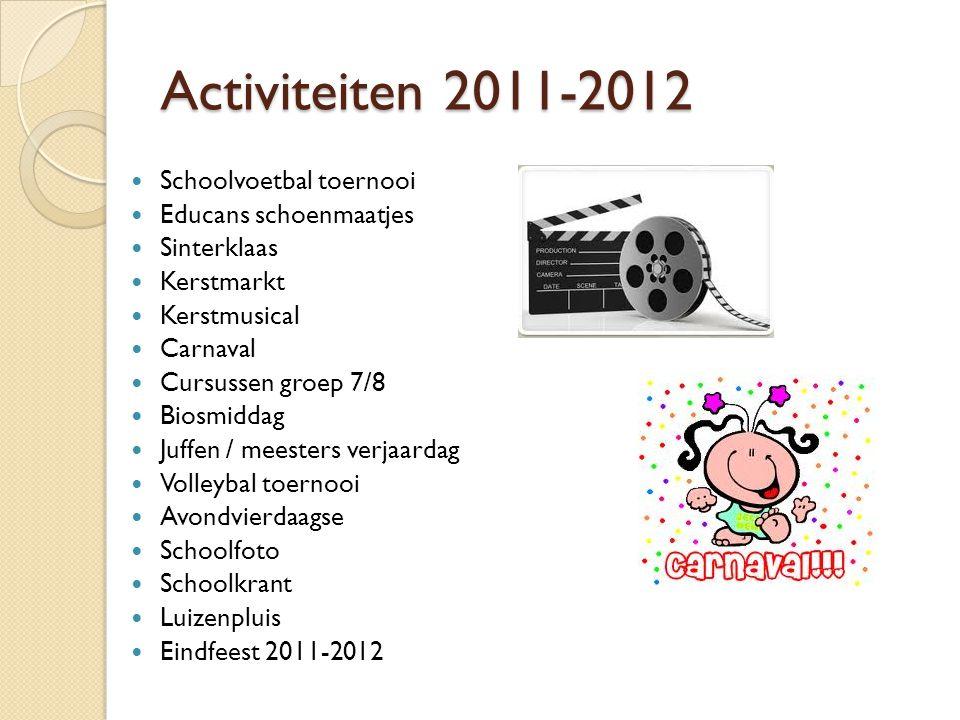 Activiteiten 2011-2012  Schoolvoetbal toernooi  Educans schoenmaatjes  Sinterklaas  Kerstmarkt  Kerstmusical  Carnaval  Cursussen groep 7/8  B