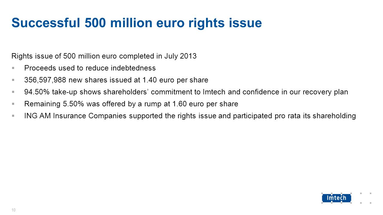 Successful 500 million euro rights issue Rights issue of 500 million euro completed in July 2013  Proceeds used to reduce indebtedness  356,597,988 new shares issued at 1.40 euro per share  94.50% take-up shows shareholders' commitment to Imtech and confidence in our recovery plan  Remaining 5.50% was offered by a rump at 1.60 euro per share  ING AM Insurance Companies supported the rights issue and participated pro rata its shareholding 10