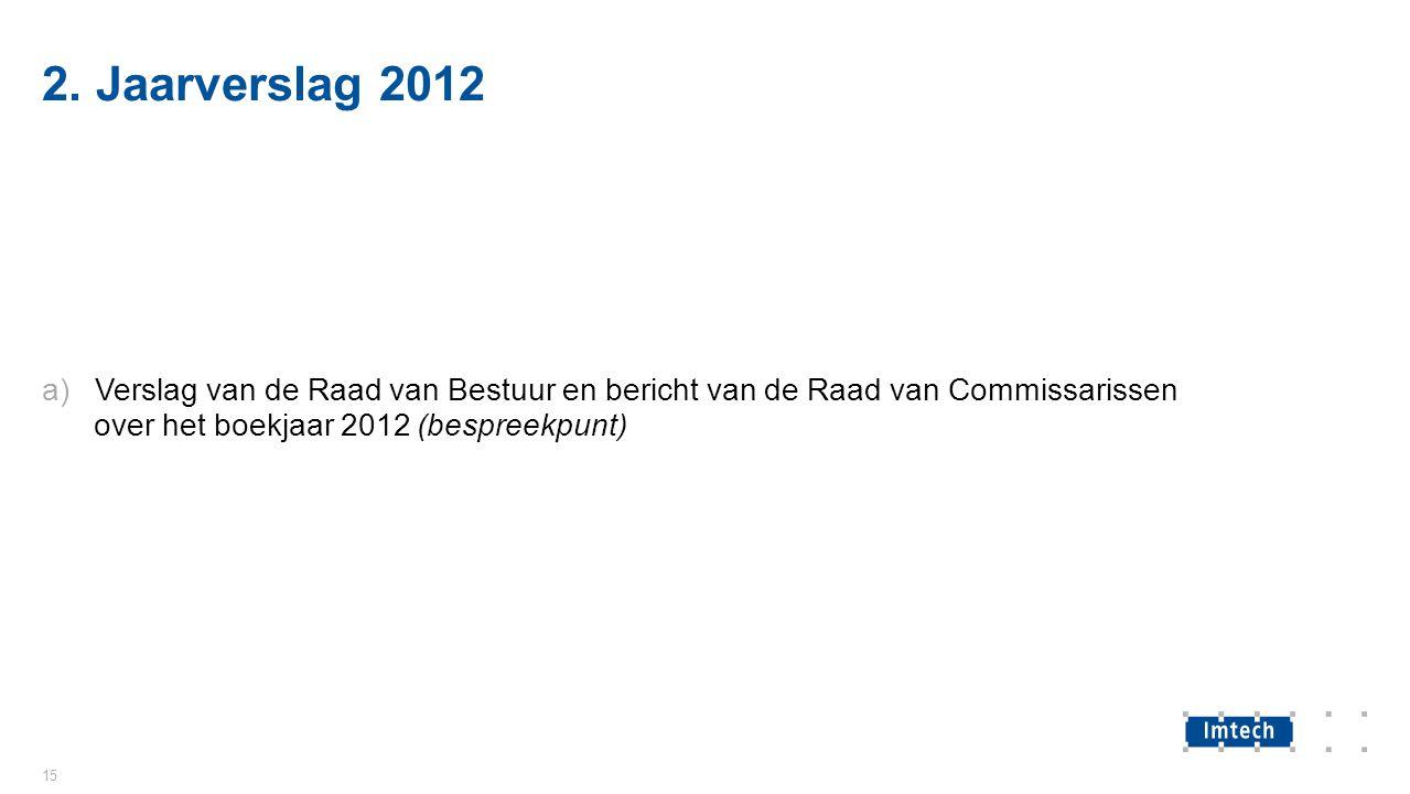 2. Jaarverslag 2012 a)Verslag van de Raad van Bestuur en bericht van de Raad van Commissarissen over het boekjaar 2012 (bespreekpunt) 15