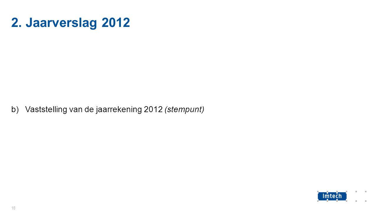 2. Jaarverslag 2012 b)Vaststelling van de jaarrekening 2012 (stempunt) 18