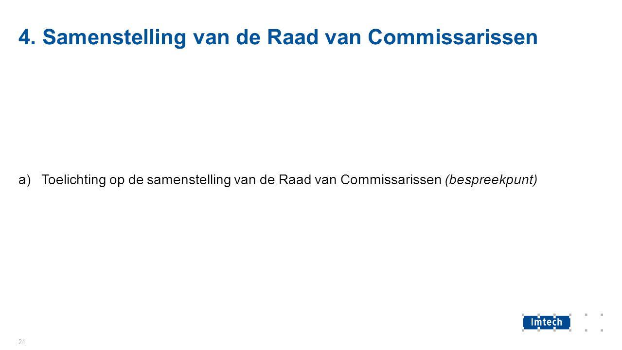 4. Samenstelling van de Raad van Commissarissen a)Toelichting op de samenstelling van de Raad van Commissarissen (bespreekpunt) 24