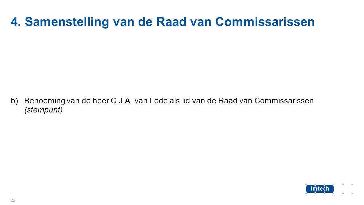 4. Samenstelling van de Raad van Commissarissen b)Benoeming van de heer C.J.A.