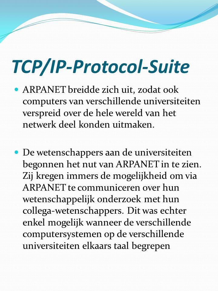 TCP/IP-Protocol-Suite  ARPANET breidde zich uit, zodat ook computers van verschillende universiteiten verspreid over de hele wereld van het netwerk d