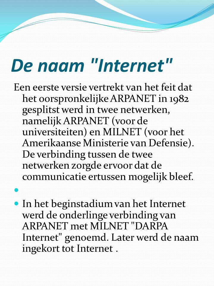 De naam Internet  Je zou ook kunnen stellen dat de naam afgeleid is van Internetting project , de naam die International Standard Organization gaf aan haar zoektocht naar een geschikte standaard voor genetwerkte computers.