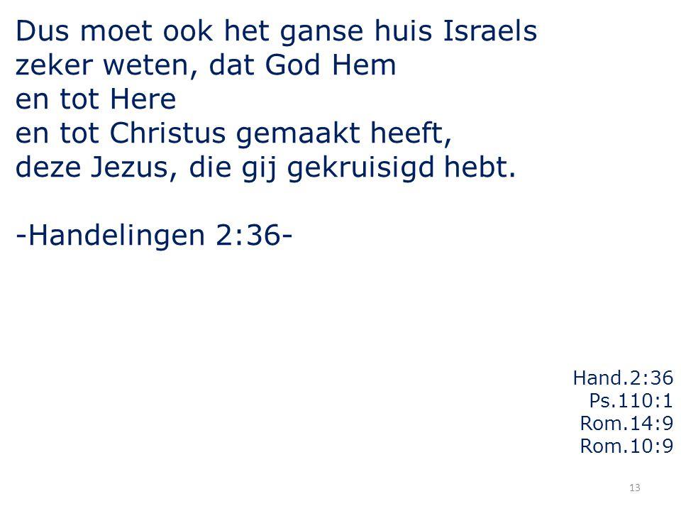 13 Dus moet ook het ganse huis Israels zeker weten, dat God Hem en tot Here en tot Christus gemaakt heeft, deze Jezus, die gij gekruisigd hebt. -Hande