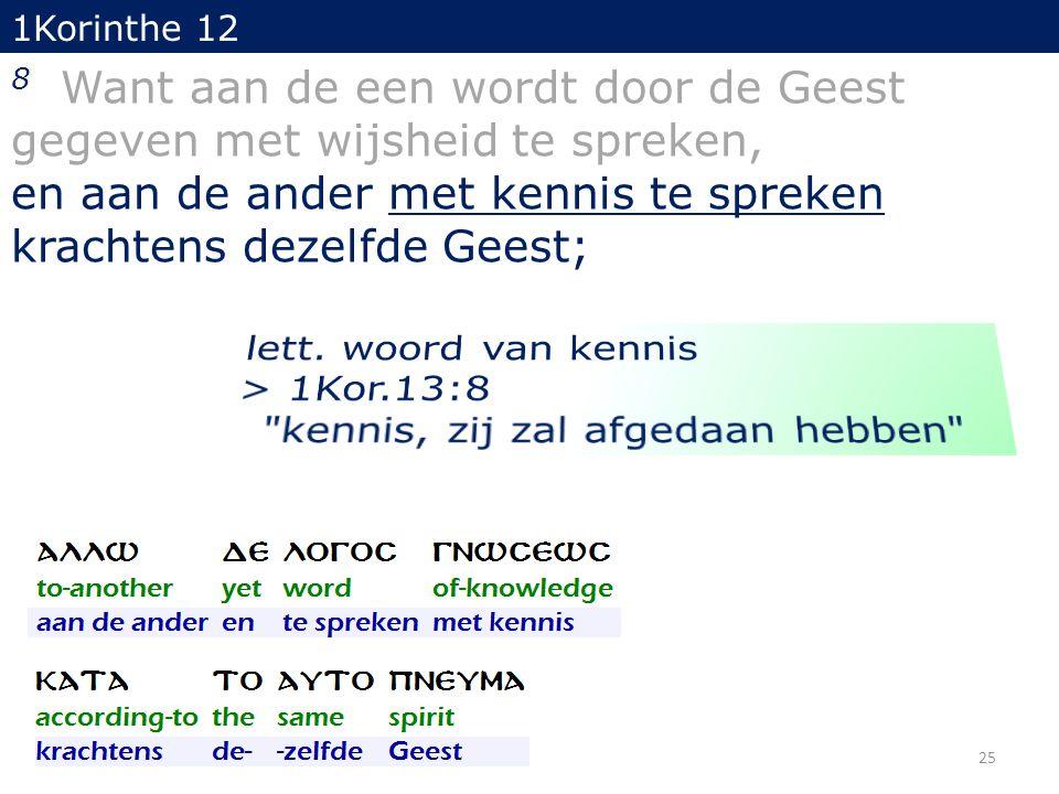 1Korinthe 12 8 Want aan de een wordt door de Geest gegeven met wijsheid te spreken, en aan de ander met kennis te spreken krachtens dezelfde Geest; 25