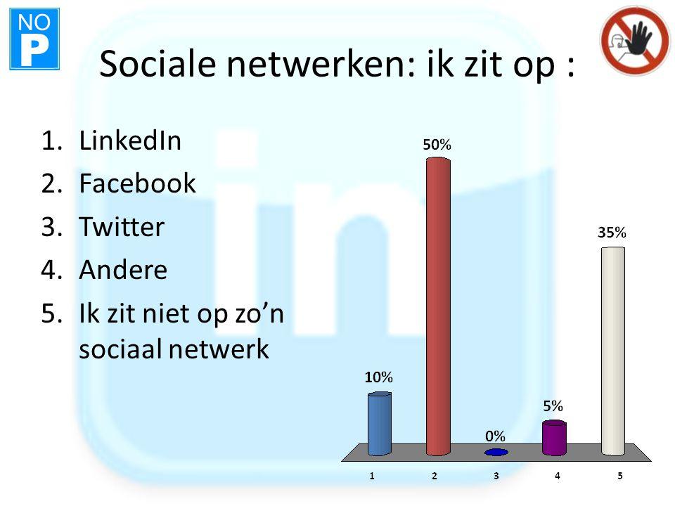 NO P Sociale netwerken: ik zit op : 1.LinkedIn 2.Facebook 3.Twitter 4.Andere 5.Ik zit niet op zo'n sociaal netwerk