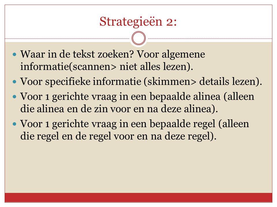Strategieën 2:  Waar in de tekst zoeken.Voor algemene informatie(scannen> niet alles lezen).