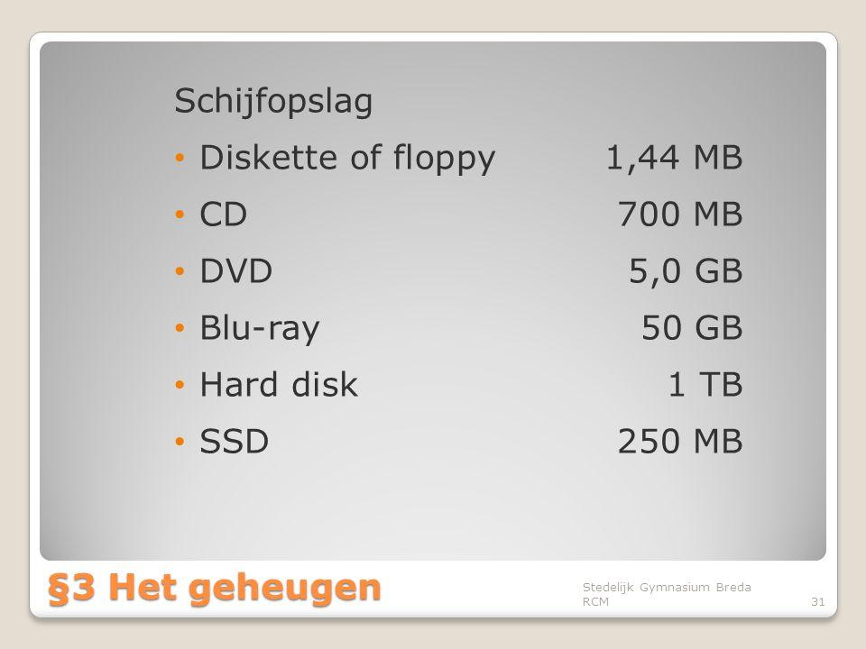 Schijfopslag • Diskette of floppy1,44 MB • CD700 MB • DVD5,0 GB • Blu-ray50 GB • Hard disk1 TB • SSD250 MB Stedelijk Gymnasium Breda RCM31 §3 Het gehe