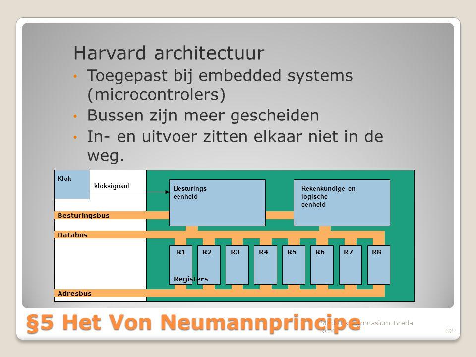 Harvard architectuur • Toegepast bij embedded systems (microcontrolers) • Bussen zijn meer gescheiden • In- en uitvoer zitten elkaar niet in de weg. S