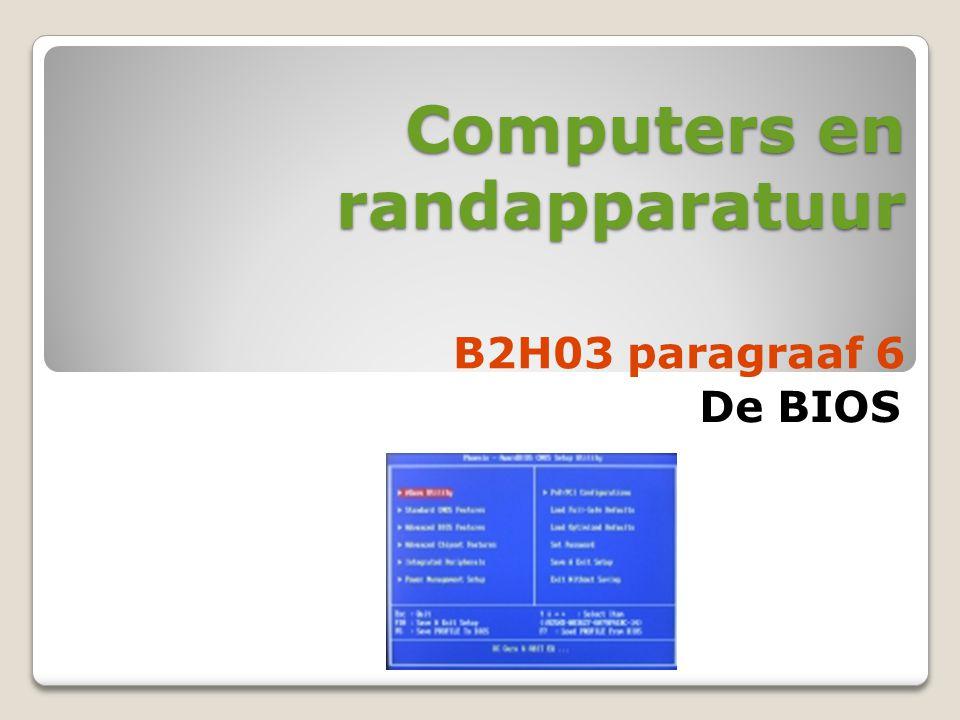 Computers en randapparatuur De BIOS B2H03 paragraaf 6