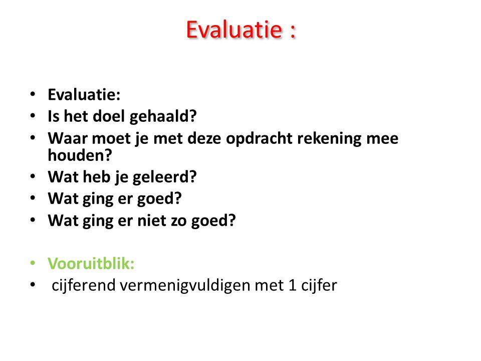 Evaluatie : • Evaluatie: • Is het doel gehaald? • Waar moet je met deze opdracht rekening mee houden? • Wat heb je geleerd? • Wat ging er goed? • Wat