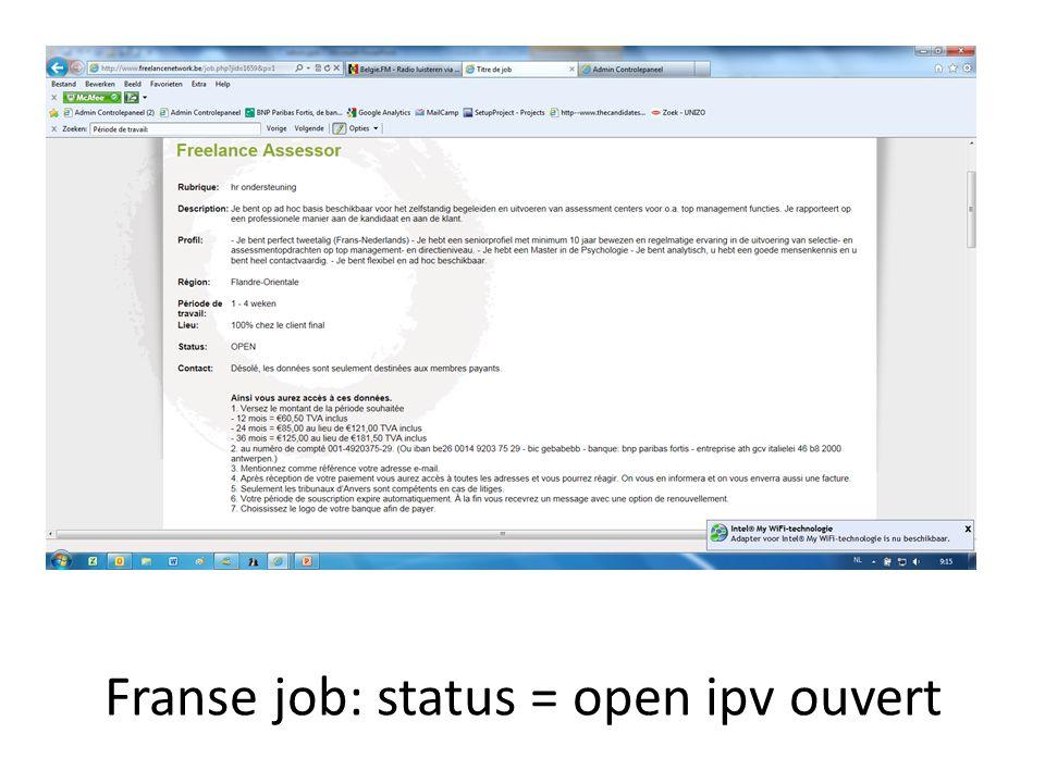Franse job: status = open ipv ouvert