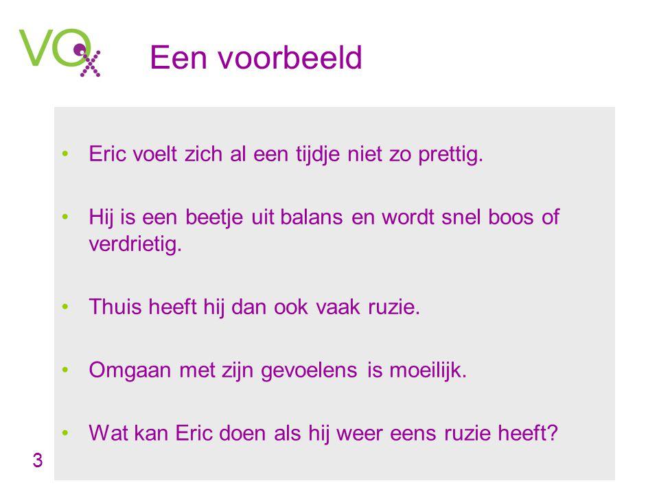 Een voorbeeld •Eric voelt zich al een tijdje niet zo prettig.