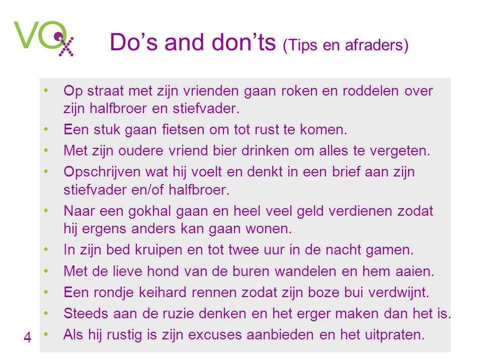 Do's and don'ts (Tips en afraders) •Op straat met zijn vrienden gaan roken en roddelen over zijn halfbroer en stiefvader.