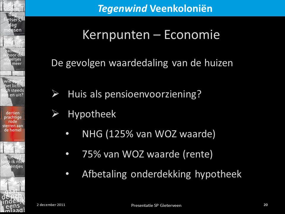 Presentatie SP Gieterveen 20 2 december 2011 Tegenwind Veenkoloniën Kernpunten – Economie De gevolgen waardedaling van de huizen  Huis als pensioenvoorziening.