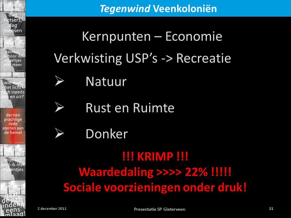 Presentatie SP Gieterveen 21 2 december 2011 Tegenwind Veenkoloniën Verkwisting USP's -> Recreatie  Natuur  Rust en Ruimte  Donker Kernpunten – Eco