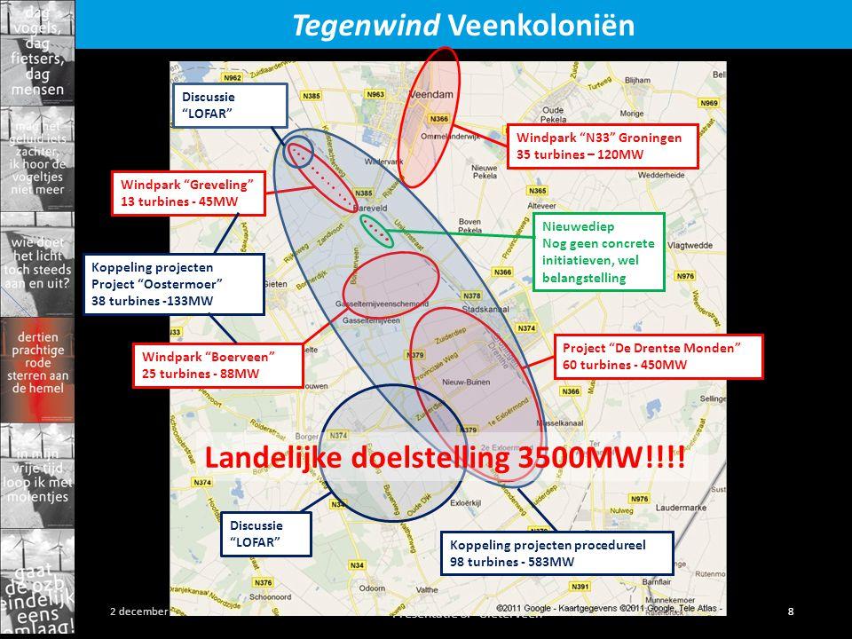 Presentatie SP Gieterveen 8 2 december 2011 Tegenwind Veenkoloniën Windpark N33 Groningen 35 turbines – 120MW Windpark Greveling 13 turbines - 45MW Project De Drentse Monden 60 turbines - 450MW Nieuwediep Nog geen concrete initiatieven, wel belangstelling Windpark Boerveen 25 turbines - 88MW Koppeling projecten Project Oostermoer 38 turbines -133MW Koppeling projecten procedureel 98 turbines - 583MW Discussie LOFAR Discussie LOFAR Landelijke doelstelling 3500MW!!!!