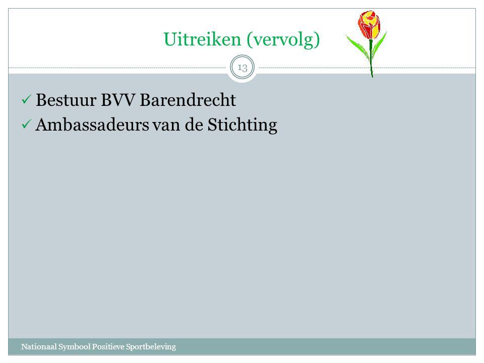 Uitreiken (vervolg) Nationaal Symbool Positieve Sportbeleving 13  Bestuur BVV Barendrecht  Ambassadeurs van de Stichting