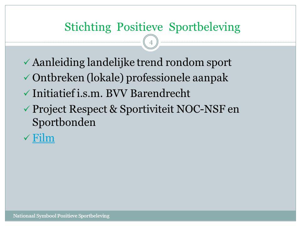 Stichting Positieve Sportbeleving Nationaal Symbool Positieve Sportbeleving 4  Aanleiding landelijke trend rondom sport  Ontbreken (lokale) professionele aanpak  Initiatief i.s.m.