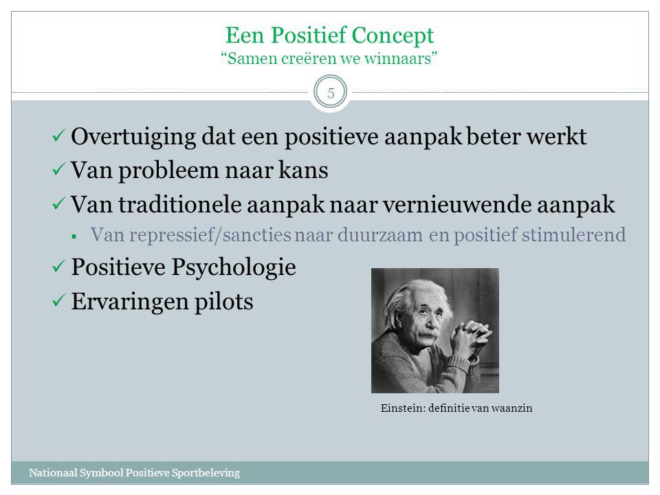 Een Positief Concept Samen creëren we winnaars Nationaal Symbool Positieve Sportbeleving 5  Overtuiging dat een positieve aanpak beter werkt  Van probleem naar kans  Van traditionele aanpak naar vernieuwende aanpak  Van repressief/sancties naar duurzaam en positief stimulerend  Positieve Psychologie  Ervaringen pilots Einstein: definitie van waanzin